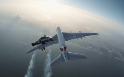 Watch 'Jetmen' fly alongside an A380 superjumbo